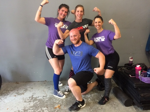 Me with some of the Cressey Sports Performance Women's Powerlifting Group, from left Celie, Hilary, myself, and our amazing Coach Tony Bonvechio.